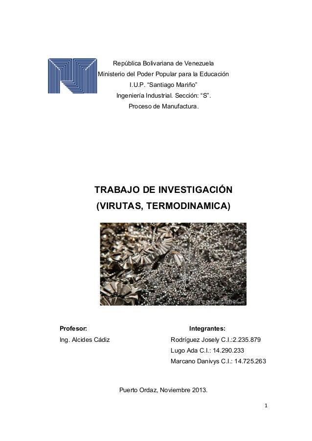"""República Bolivariana de Venezuela Ministerio del Poder Popular para la Educación I.U.P. """"Santiago Mariño"""" Ingeniería Indu..."""