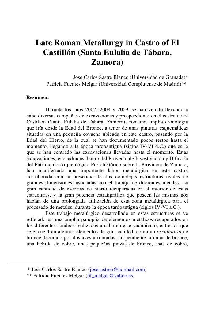 Late Roman Metallurgy in Castro of El     Castillón (Santa Eulalia de Tábara,                  Zamora)                    ...
