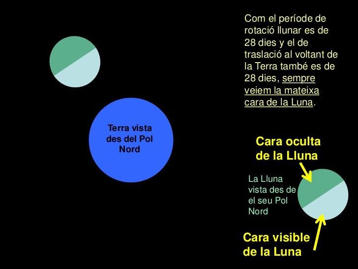 Com el període de              rotació llunar es de              28 dies y el de              traslació al voltant de     ...