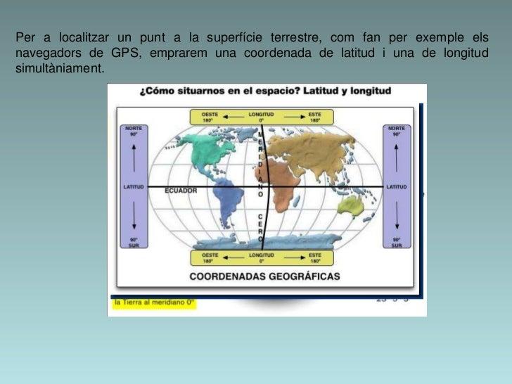 Per a localitzar un punt a la superfície terrestre, com fan per exemple elsnavegadors de GPS, emprarem una coordenada de l...