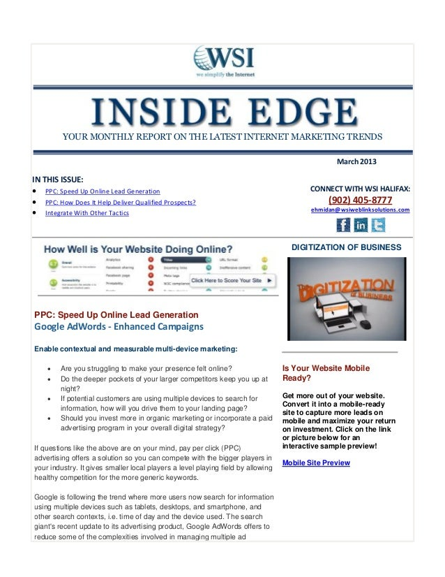 YOUR MONTHLY REPORT ON THE LATEST INTERNET MARKETING TRENDS                                                               ...