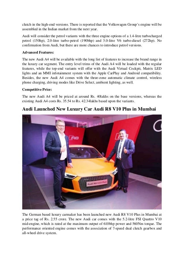 Latest Audi News Upcoming Audi Q And A Cars - Audi latest price