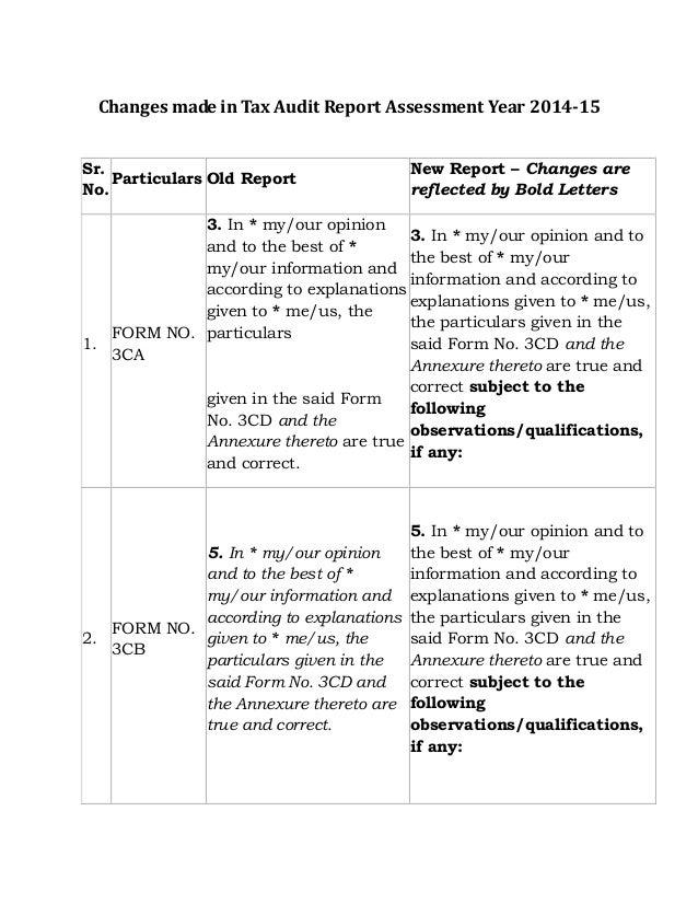 Tax audit report