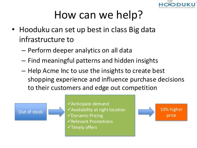 How can we help?• Hooduku can set up best in class Big datainfrastructure to– Perform deeper analytics on all data– Find m...