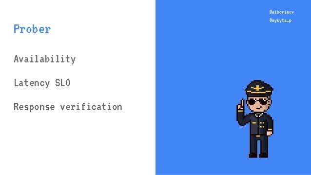 @aiborisov @mykyta_p @aiborisov @mykyta_p Prober Availability Latency SLO Response verification