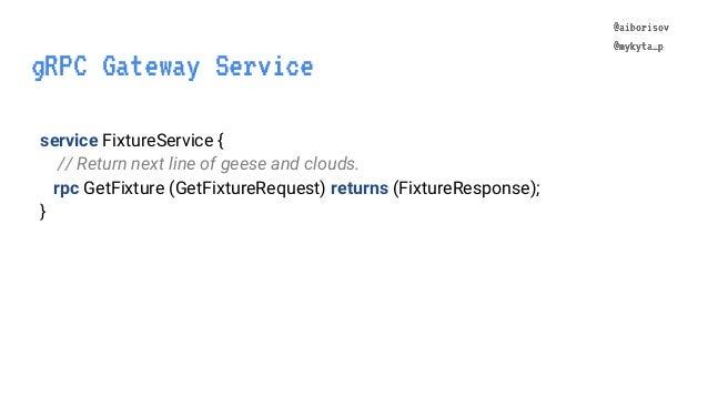 @aiborisov @mykyta_p service FixtureService { // Return next line of geese and clouds. rpc GetFixture (GetFixtureRequest) ...