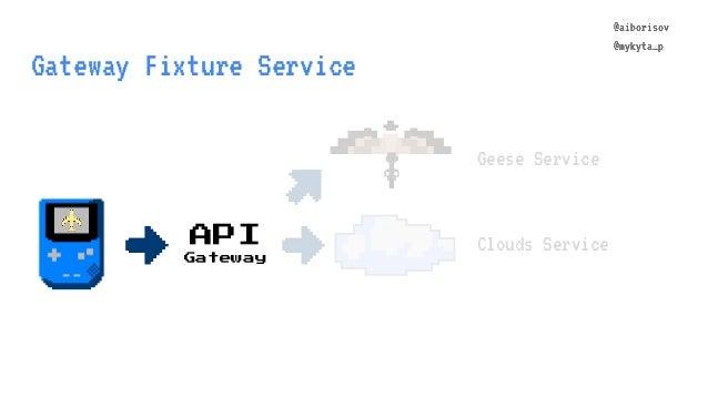 @aiborisov @mykyta_p Gateway Fixture Service Geese Service Clouds ServiceAPI Gateway @aiborisov @mykyta_p