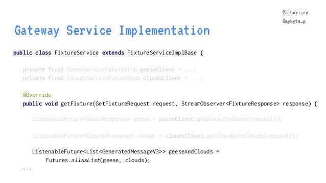 @aiborisov @mykyta_p public class FixtureService extends FixtureServiceImplBase { Gateway Service Implementation @aiboriso...