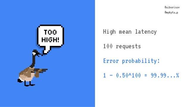 @aiborisov @mykyta_p @aiborisov @mykyta_p High mean latency 100 requests Error probability: 1 – 0.50^100 = 99.99...%