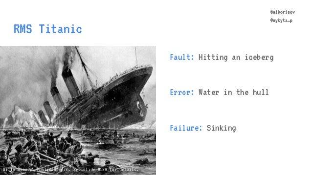 @aiborisov @mykyta_p RMS Titanic @aiborisov @mykyta_p Fault: Hitting an iceberg Error: Water in the hull Failure: Sinking ...