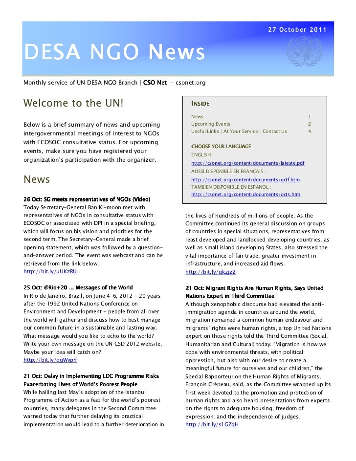 27 October 2011DESA NGO NewsMonthly service of UN DESA NGO Branch | CSO Net - csonet.orgWelcome to the UN!                ...