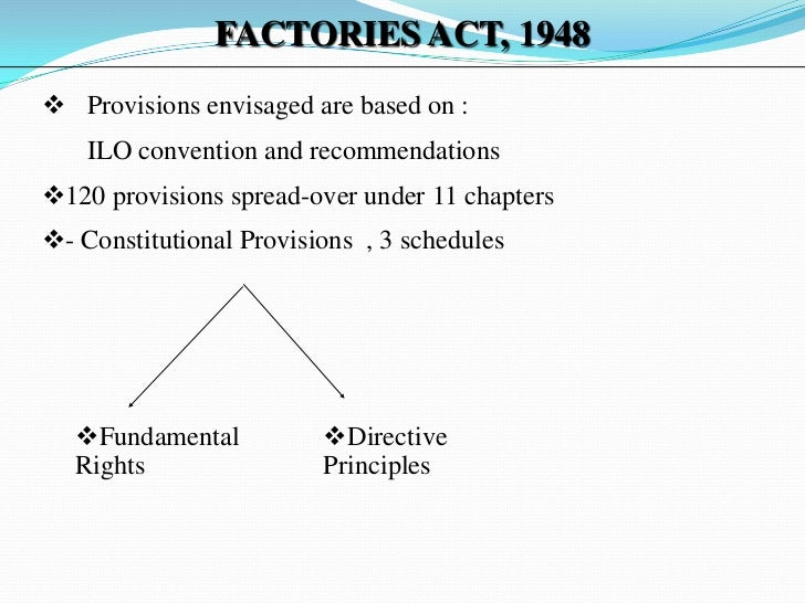 salient features of factories act 1948 slideshare