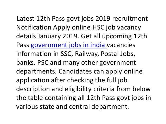 Latest government jobs in india 12th pass vacancy