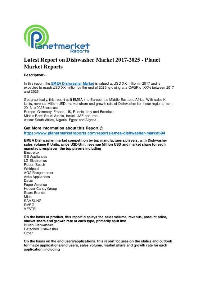 Latest report on dishwasher market 2017 2025 - planet market