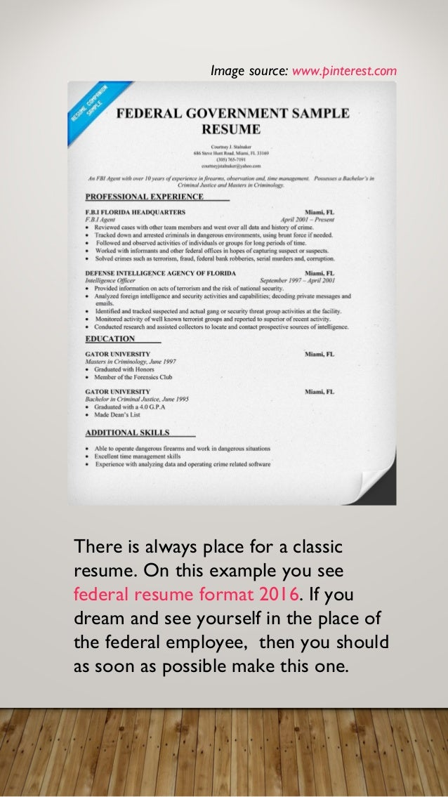 resume for federal employment