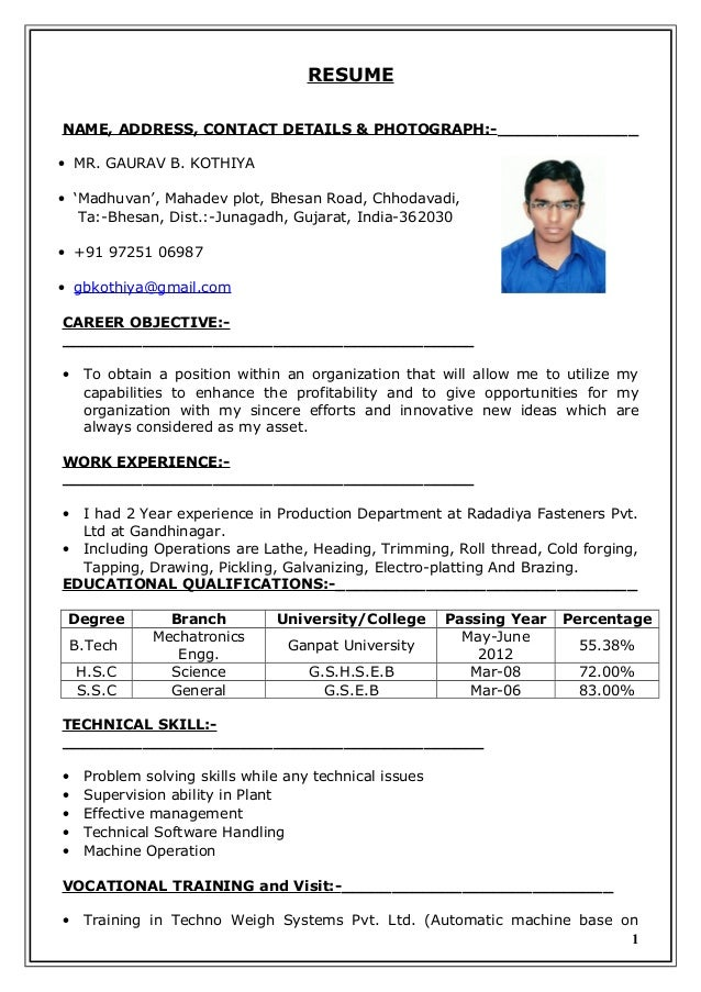 resume of gaurav b  kothiya doc