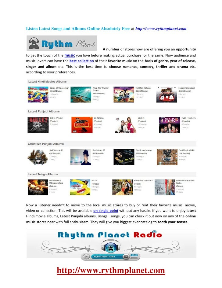 Listen Latest Songs and Albums Online Absolutely Free at http://www.rythmplanet.com                                       ...
