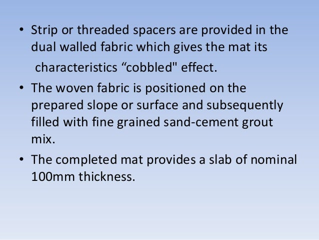 """• Strip or threaded spacers are provided in the dual walled fabric which gives the mat its characteristics """"cobbled"""" effec..."""