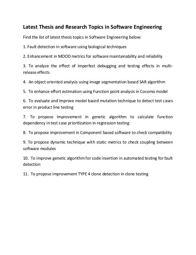 thesis software engineering proposal