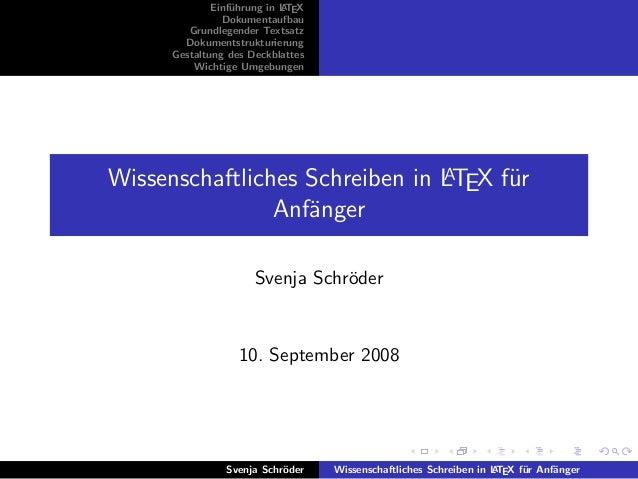 Einf¨hrung in L TEX                  u         A                Dokumentaufbau         Grundlegender Textsatz        Dokum...