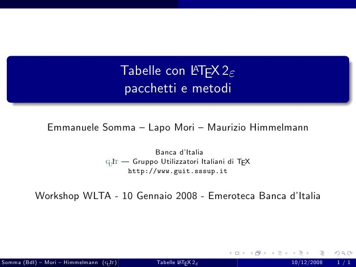 A                                          Tabelle con LTEX 2ε                                           pacchetti e metod...