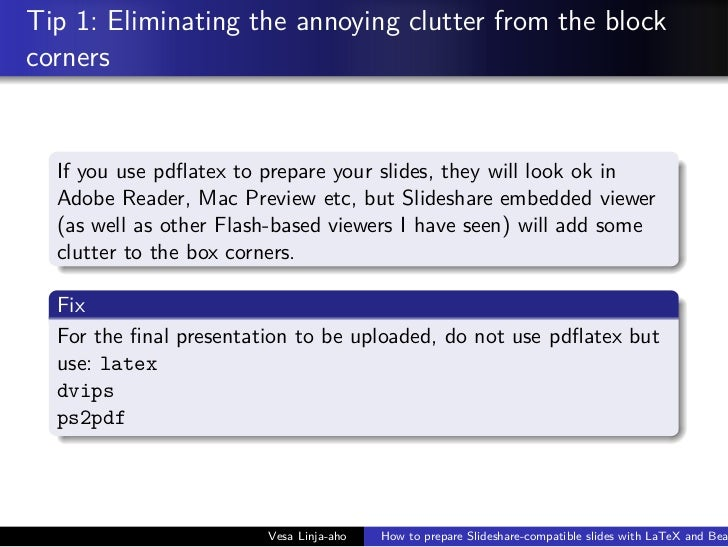 How to use latex and beamer to prepare presentation for slideshare latex and bea 3 pronofoot35fo Gallery