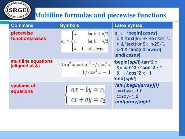 Latex symbols and commands