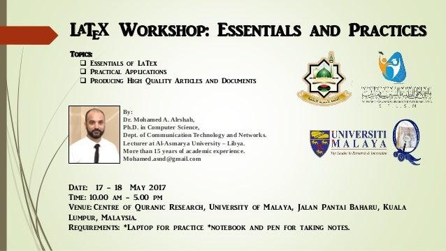 Latex workshop: Essentials and Practices