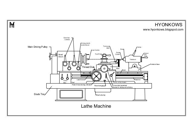 lathe machine autocad drawing