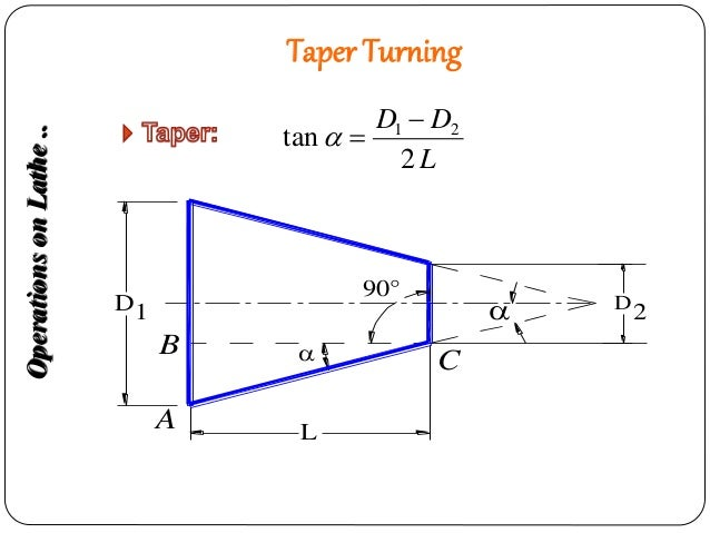 Formula for taper angle - Manufacturing Processes - 1