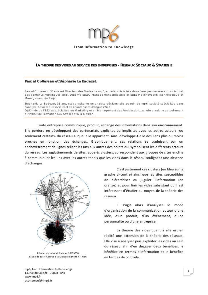 FromInformationtoKnowledge            LA THEORIE DES VIDES AU SERVICE DES ENTREPRISES - RESEAUX SOCIAUX & STRATEGIE   P...