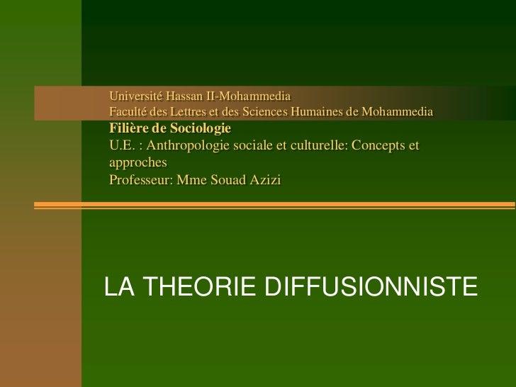Université Hassan II-MohammediaFaculté des Lettres et des Sciences Humaines de MohammediaFilière de SociologieU.E. : Anthr...