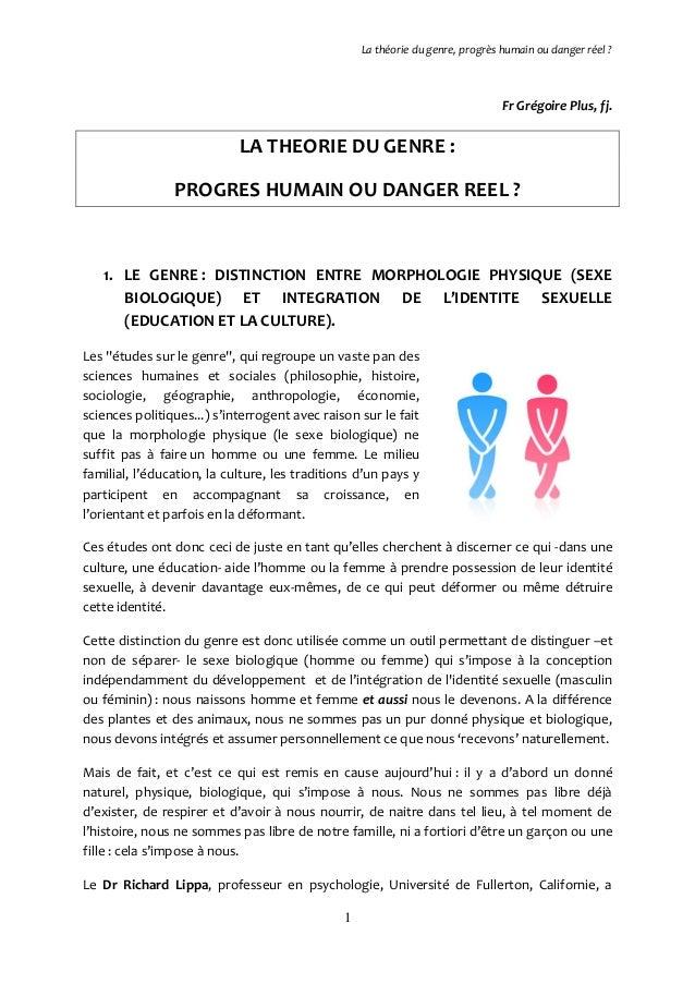 La théorie du genre, progrès humain ou danger réel ?  Fr Grégoire Plus, fj.  LA THEORIE DU GENRE : PROGRES HUMAIN OU DANGE...