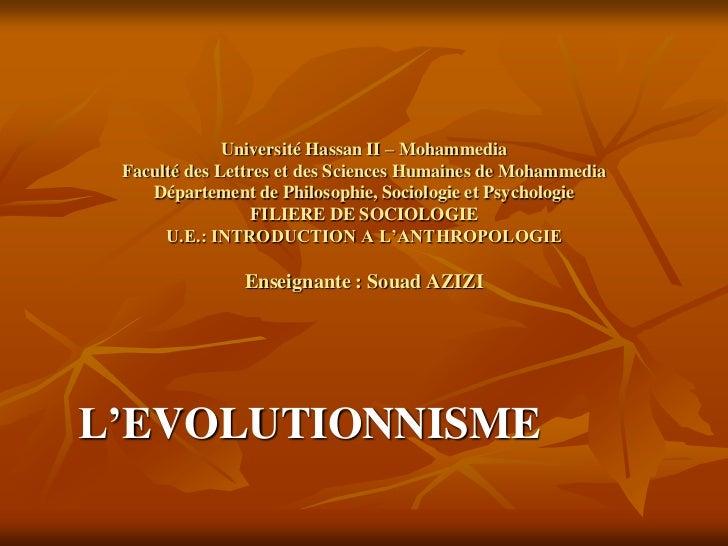 Université Hassan II – Mohammedia Faculté des Lettres et des Sciences Humaines de Mohammedia    Département de Philosophie...
