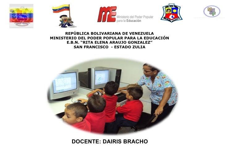 """REPÚBLICA BOLIVARIANA DE VENEZUELA MINISTERIO DEL PODER POPULAR PARA LA EDUCACIÓN E.B.N. """"RITA ELENA ARAUJO GONZALEZ"""" SAN ..."""