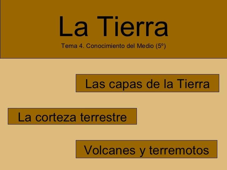 La Tierra Tema 4. Conocimiento del Medio (5º) Las capas de la Tierra La corteza terrestre Volcanes y terremotos