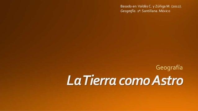 Basado en:Valdés C. y Zúñiga M. (2012). Geografía. 2ª. Santillana. México