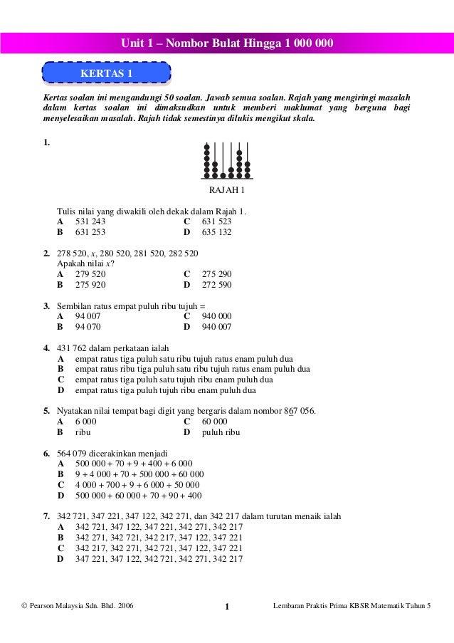 Latih Tubi Soalan Latihan Matematik Tahun 5 Cuti Bulan Mac 1