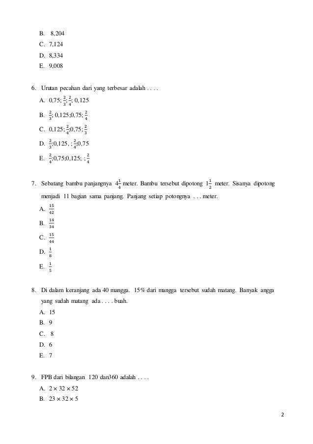 Latihan Soal Matematika Kelas 6 Sd