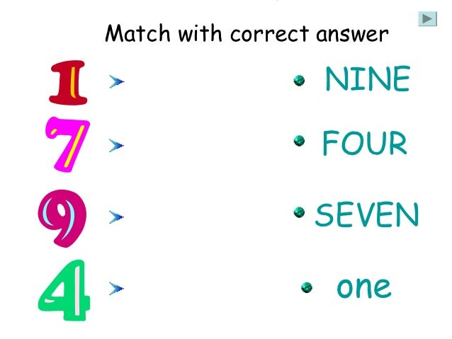 Match with correct answer                   NINE                   FOUR                  SEVEN                    one