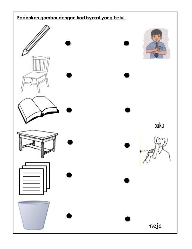 Padankan gambar dengan kod isyarat yang betul. kerusi meja buku bakul sampah
