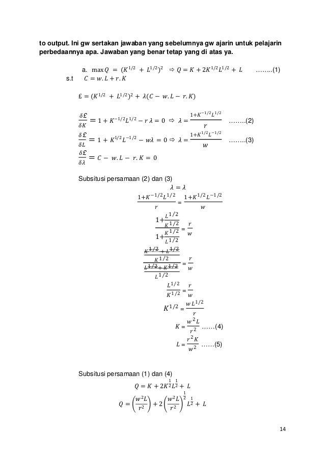 Latihan Jawaban Mikro 1 Uts Feui