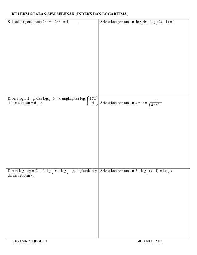 Matematik Tambahan Index Dan Log Sam