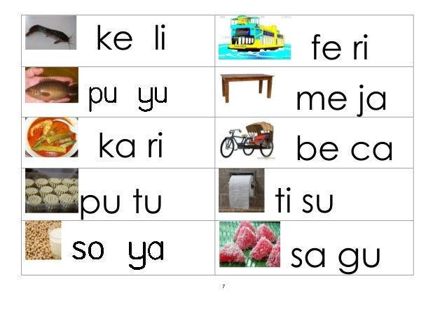 Latihan Membaca Suku Kata Terbuka Kv