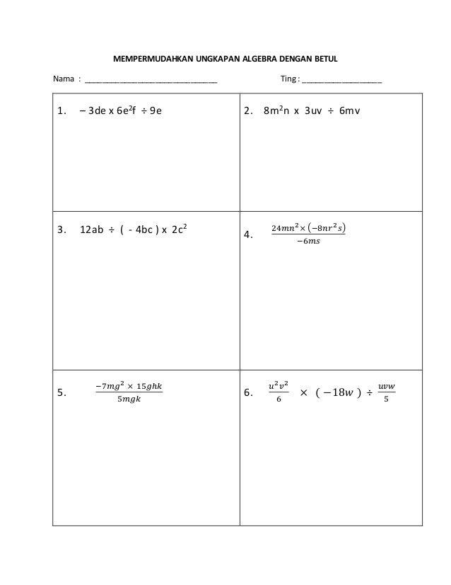 Contoh Soalan Rumus Algebra Tingkatan 2 Soalan Bg