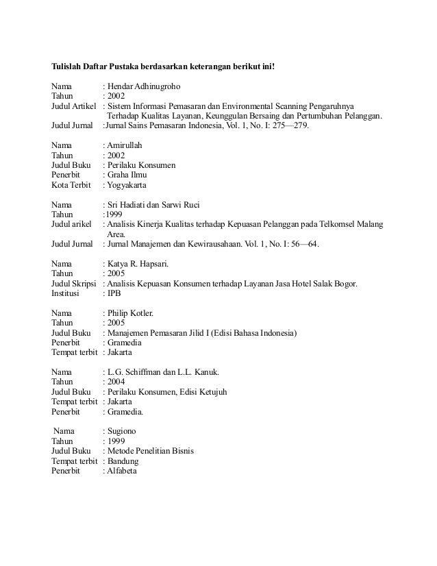 Latihan Menulis Daftar Pustaka Dan Kutipan
