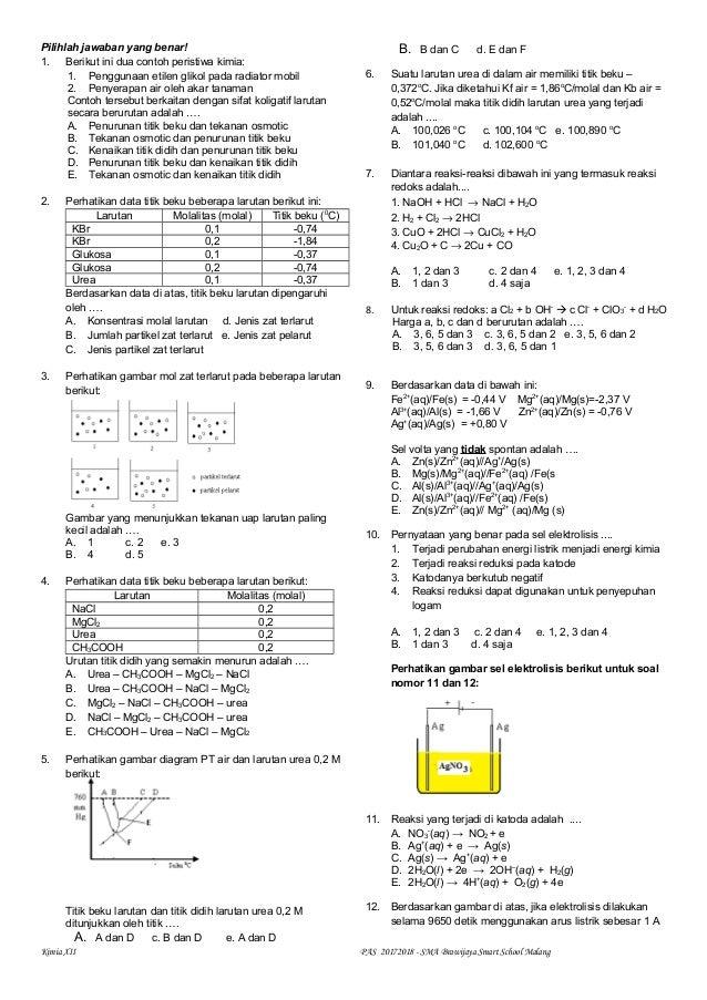 Latihan Pas Uas Kimia Kelas Xii