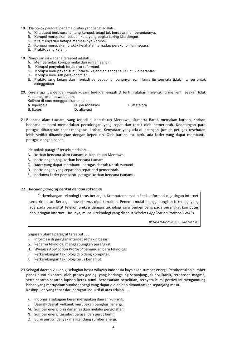 Latihan Soal Bahasa Indonesia Kelas 12