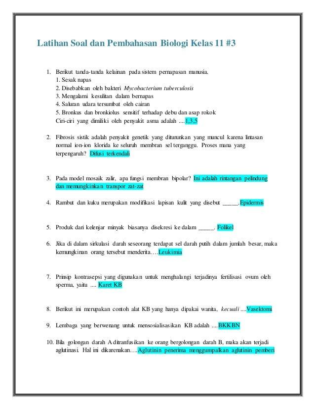 Latihan Soal Dan Pembahasan Biologi Kelas 11 3