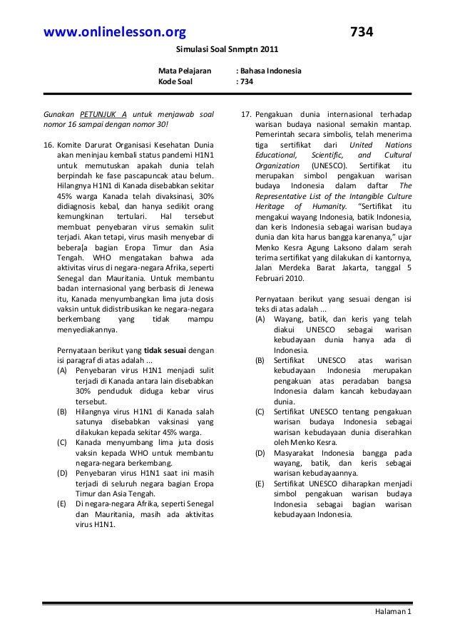 Latihan Soal Snmptn 2011 B Indonesia